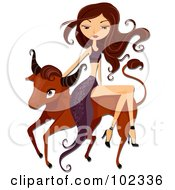 Royalty Free RF Clipart Illustration Of A Beautiful Aquarius Taurus Woman Riding A Bull by BNP Design Studio