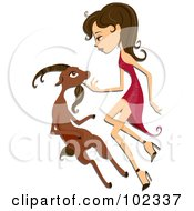 Royalty Free RF Clipart Illustration Of A Beautiful Capricorn Zodiac Woman Petting A Goat