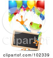 Royalty Free RF Clipart Illustration Of An Adorable Poison Dart Frog Holding A Chalk Board Under Party Balloons
