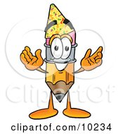 Pencil Mascot Cartoon Character Wearing A Birthday Party Hat