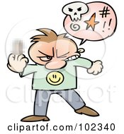 Royalty Free RF Clipart Illustration Of An Angry Toon Guy Cursing And Holding Up His Middle Finger With A Blurred Spot by gnurf