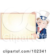 Royalty Free RF Clipart Illustration Of A Friendly Uncle Sam Smiling And Pointing To A Blank Sign by Pushkin