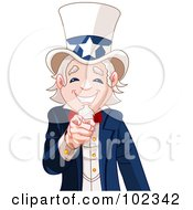 Royalty Free RF Clipart Illustration Of A Friendly Uncle Sam Smiling And Pointing Out by Pushkin