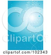 Royalty Free RF Clipart Illustration Of A Blue Background With Sparkles And White Squiggles