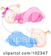 Boy And Girl Baby Twins Sleeping With Pacifiers
