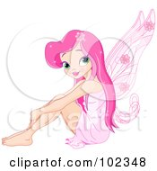 Royalty Free RF Clipart Illustration Of A Pretty Pink Haired Fairy Sitting With Her Arms Over Her Legs