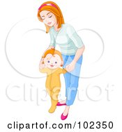 Royalty Free RF Clipart Illustration Of A Mother Bending Over And Helping Her Baby Take His First Steps by Pushkin
