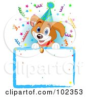 Royalty Free RF Clipart Illustration Of An Adorable Beagle Puppy Wearing A Party Hat Looking Over A Blank Sign With Colorful Confetti
