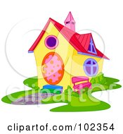 Royalty Free RF Clipart Illustration Of A Yellow House With Colorful Accents by Pushkin