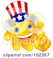 Royalty Free RF Clipart Illustration Of A Sun Face Uncle Sam Pointing by Pushkin