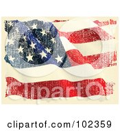 Royalty Free RF Clipart Illustration Of A Grungy Aged Waving American Flag by Pushkin