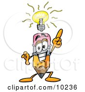 Pencil Mascot Cartoon Character With A Bright Idea by Toons4Biz
