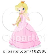 Blond Princess Girl In A Pink Dress And Tiny Crown