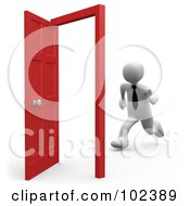Royalty Free RF Clipart Illustration Of A 3d White Person Businessman Running Towards An Open Opportunity Door by 3poD