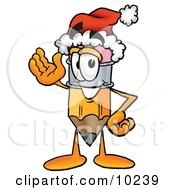 Pencil Mascot Cartoon Character Wearing A Santa Hat While Waving Hello