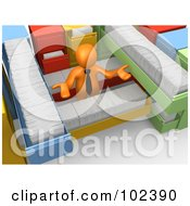 R Oyalty Free RF Clipart Illustration Of A 3d Orange Person Shrugging And Surrounded By Long Filing Cabinet Drawers