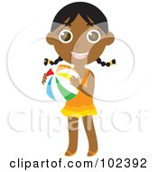 Royalty Free RF Clipart Illustration Of An Indian Summer Girl Holding A Beach Ball