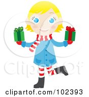 Royalty Free RF Clipart Illustration Of A Blond Caucasian Christmas Girl Holding Presents by Rosie Piter