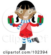 Royalty Free RF Clipart Illustration Of An Indian Christmas Girl Holding Presents by Rosie Piter