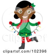 Royalty Free RF Clipart Illustration Of An Indian Christmas Girl Holding A Strand Of Christmas Lights by Rosie Piter