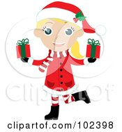 Blond Christmas Girl In A Red Coat Carrying Presents