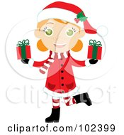 Royalty Free RF Clipart Illustration Of An Irish Christmas Girl In A Red Coat Carrying Presents by Rosie Piter