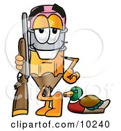Clipart Picture Of A Pencil Mascot Cartoon Character Duck Hunting Standing With A Rifle And Duck by Toons4Biz