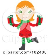 Royalty Free RF Clipart Illustration Of An Irish Christmas Girl Holding Presents by Rosie Piter