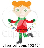 Irish Christmas Girl Holding A Strand Of Christmas Lights