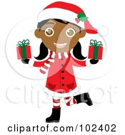 Royalty Free RF Clipart Illustration Of An Indian Christmas Girl In A Red Coat Carrying Presents by Rosie Piter