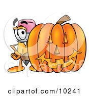 Pencil Mascot Cartoon Character With A Carved Halloween Pumpkin