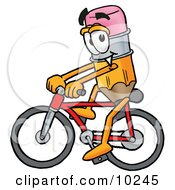 Pencil Mascot Cartoon Character Riding A Bicycle by Toons4Biz