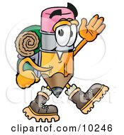 Pencil Mascot Cartoon Character Hiking And Carrying A Backpack