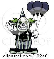 Royalty Free RF Clipart Illustration Of A Scary Clown Waving And Holding Balloons by Cory Thoman