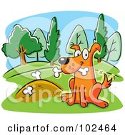 Royalty Free RF Clipart Illustration Of A Dog Wagging His Tail Proudly By Buried Bones