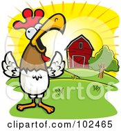Royalty Free RF Clipart Illustration Of A Happy Rooster Crowing Loudly By A Farm At Sunrise