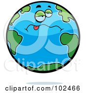 Royalty Free RF Clipart Illustration Of A Drunk Earth Hanging Its Tongue Out by Cory Thoman