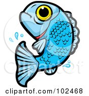Royalty Free RF Clipart Illustration Of A Leaping Blue Fish