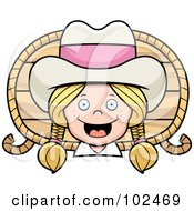 Royalty Free RF Clipart Illustration Of A Happy Little Cowgirl With A Rope And Wood by Cory Thoman