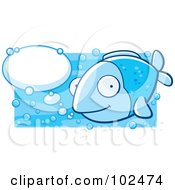 Royalty Free RF Clipart Illustration Of A Happy Blue Fish With Talk Bubbles