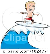 Happy Blond Boy Surfing And Riding A Wave