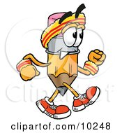 Clipart Picture Of A Pencil Mascot Cartoon Character Speed Walking Or Jogging