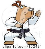 Royalty Free RF Clipart Illustration Of A Black Belt Karate Dog by Cory Thoman