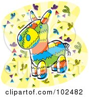 Royalty Free RF Clipart Illustration Of A Colorful Donkey Pinata And Confetti by Cory Thoman