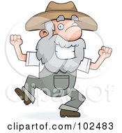 Royalty Free RF Clipart Illustration Of A Happy Prospector Man Dancing by Cory Thoman