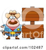 Royalty Free RF Clipart Illustration Of A Chubby Sheriff With Double Wood Signs by Cory Thoman
