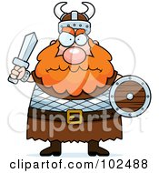 Royalty Free RF Clipart Illustration Of A Chubby Mad Viking Man Holding A Sword And Shield by Cory Thoman #COLLC102488-0121