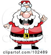 Royalty Free RF Clipart Illustration Of A Chubby Santa Holding Up A Finger