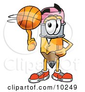 Pencil Mascot Cartoon Character Spinning A Basketball On His Finger