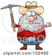 Royalty Free RF Clipart Illustration Of A Angry Prospector Holding A Pickaxe by Cory Thoman